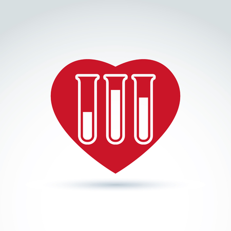 blood sample: Vector illustration of a red heart symbol and test tube with a blood sample. Medical cardiology label, blood donation symbol.