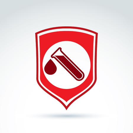 symbol of life: Vector illustration of a red shield symbol and test tubes with a blood drop. Medical cardiology label, blood donation symbol. Life insurance.