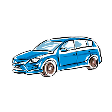 Colored hand drawn car on white background, illustrated hatchback. Vector