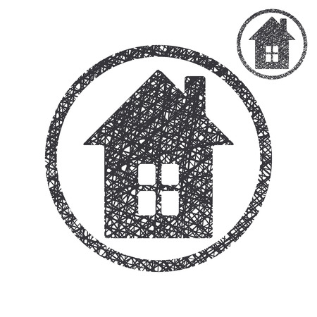 House simple single color icon isolated on white background with sketch lined hand drawn texture. Vector