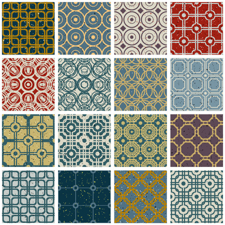 secession: Vintage tiles with rusty grunge textures seamless patterns vector set.