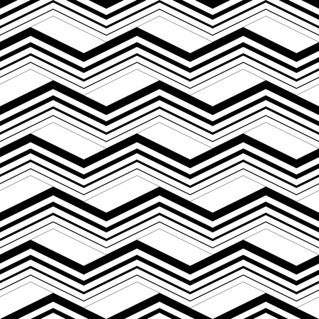 zig: Zig zag black and white geometric seamless pattern, vector background. Illustration