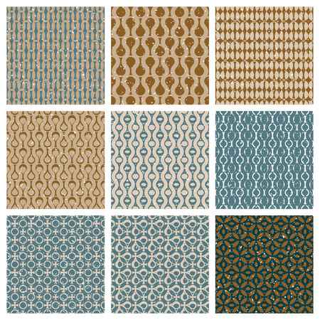 repeated: Vintage style aged seamless tiles set with grungy dirt textures, vector backgrounds collection.