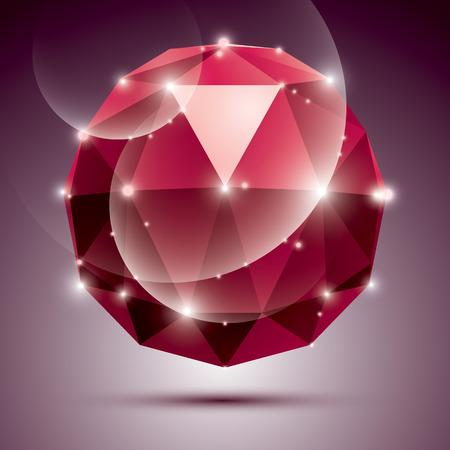 Vector stylish illustration, shiny Rubin effect, eps10. Gala 3D red twinkle disco ball. Illustration