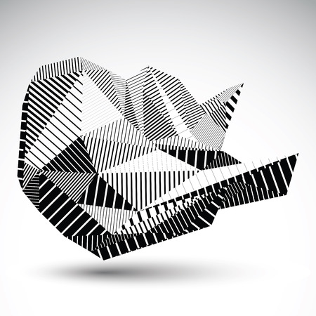 multifaceted: Decorative distorted unusual eps8 figure with parallel black lines. Striped multifaceted asymmetric contrast element, monochrome technology illustration.
