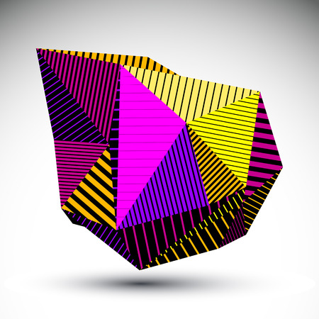 misshapen: Multifaceted eps8 asymmetric contrast figure with parallel lines. Striped colorful misshapen abstract vector object constructed from graffiti triangles.