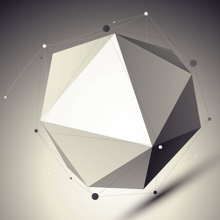 facet: 3D mesh cybernetic stylish abstract background, origami facet spherical structure with asymmetric grid.