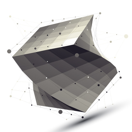 Abstract deformed vector squared object with lines mesh isolated on white background.  イラスト・ベクター素材