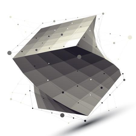 Vecteur carré objet déformé abstrait avec des lignes maille isolé sur fond blanc. Banque d'images - 33631310