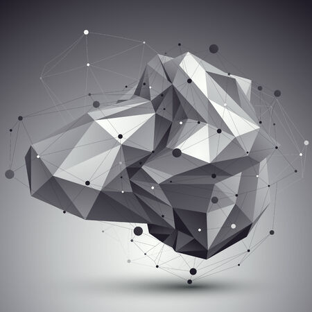 deformed: Abstract 3D structure polygonal vector network pattern, grayscale art deformed figure placed over contrast background. Illustration
