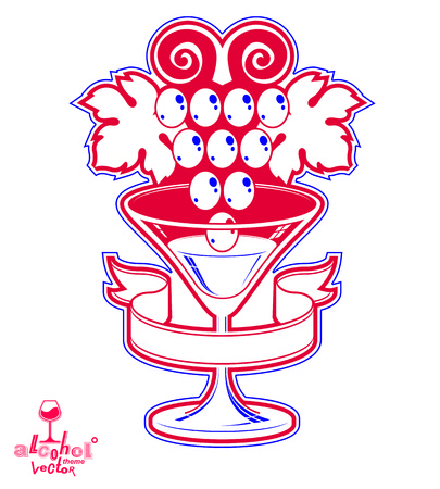 half full: Winery award theme vector illustration. Elegant half full glass of wine with grape vine and decorative ribbon, racemation symbol best for use in advertising and graphic design.