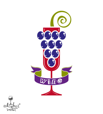 revelry: Winery idea eps8 vector illustration. Elegant glass of wine with grapes cluster and decorative ribbon, racemation symbol best for use in advertising and graphic design. Alcohol theme element. Illustration