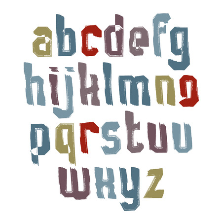 verb: Handwritten colorful vector lowercase letters, stylish letters drawn with ink brush, doodle alphabet.