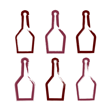 dinner date: Set of hand-drawn simple empty bottle of rum, collection of symmetric brush drawing bottle icons, hand-painted silhouette of pirate bottles isolated on white background.