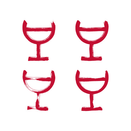 half full: Set of hand-drawn simple half full wineglasses, brush drawing goblet icons, hand-painted glass of red wine isolated on white background.