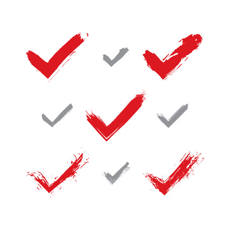 vectorized: Set of hand-drawn validation icons scanned and vectorized, collection of brush drawing red checkmarks, hand-painted navigation symbols isolated on white background.