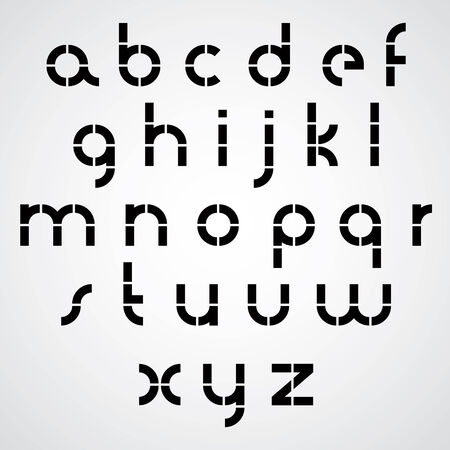 discrete: Monochrome dotted line bold font with rounded lower case letters on white background.