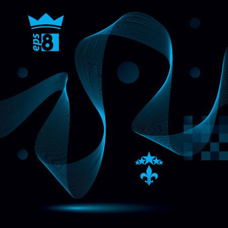 unwind: Dimensional motif elegant flowing curves, dark background in motion with five stars emblem, eps8 design backdrop. Illustration
