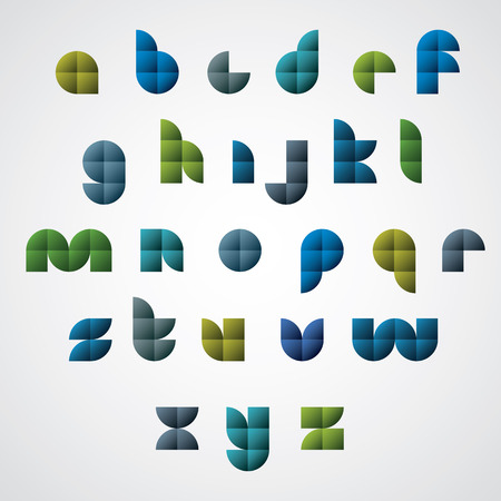 discrete: Colorful spherical geometric smooth comic font, rounded glossy letters. Illustration