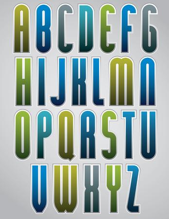 verb: Colorido fuente estrecho brillante, redondeado letras con el esquema blanco. Vectores