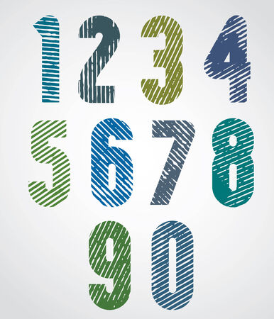 Colored scratched numbers with rounded corners on white background.