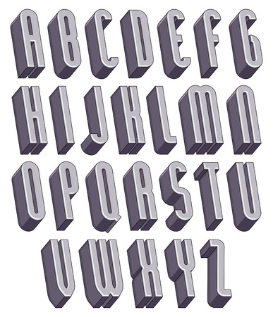 3d tall and thin font, monochrome dimensional alphabet, geometric letters for design.