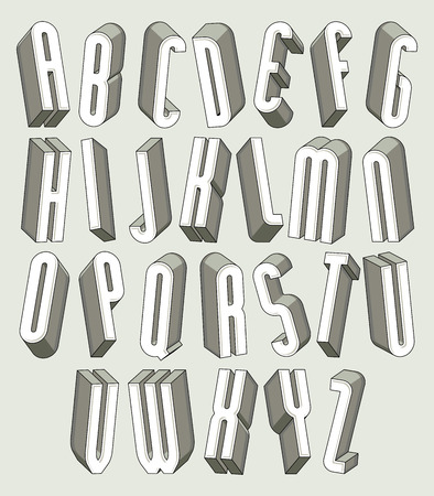 tall: 3d font, thin and tall dimensional letters set made with round elements, monochrome alphabet for design.