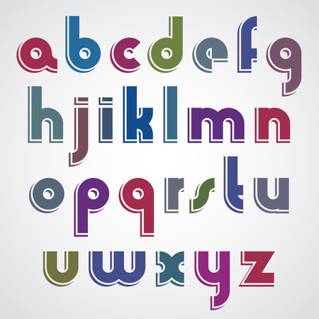 lower case: Colorful cartoon font, rounded lower case letters with white outline. Illustration