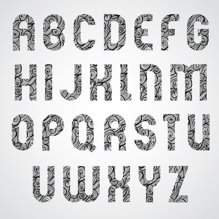 Pattern glamorous black fashionable font, upper case letters. Vector