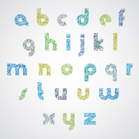 Pattern wavy colorful fashionable font, lower case letters.