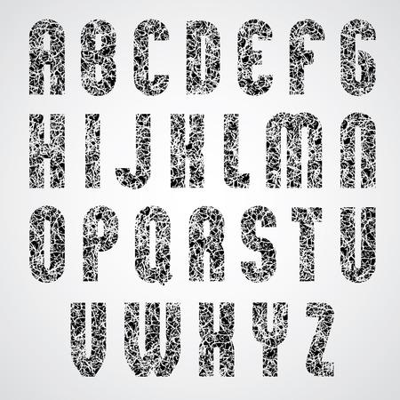 upper case: Pattern choppy black and white decorative font, upper case letters.