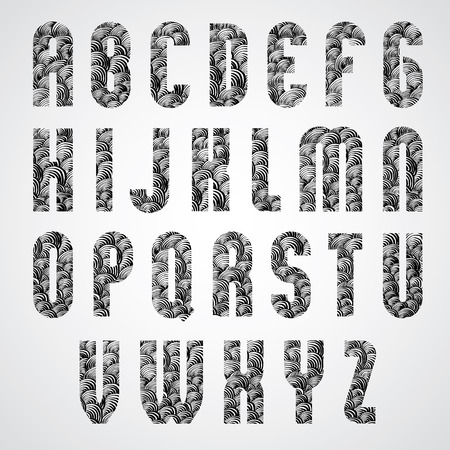 Pattern glamorous black and white fashionable font, upper case letters. Vector