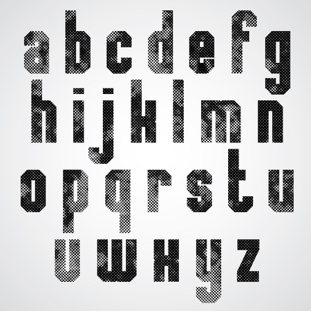 lower case: Black and white dotty graphic lower case letters, rectangular industrial font.