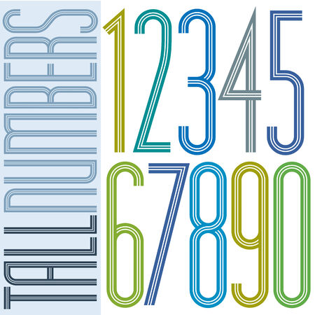 Poster tall colorful striped numbers on white background. Ilustração