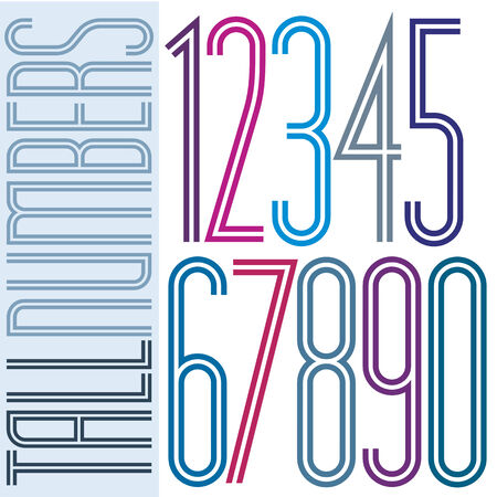 Poster tall colorful striped numbers with double equal lines on white background.