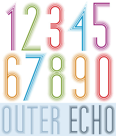 echo: Poster echo condensed colorful light numbers with stripes on white background. Illustration