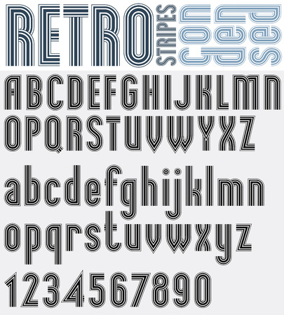 Retro striped black and white font with outline, bold poster letters and numbers. Ilustração