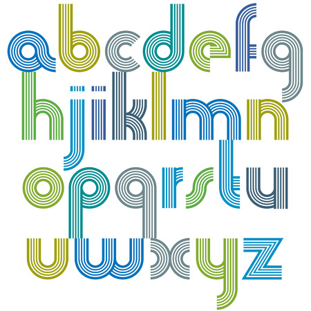 affiche: Colorful lowercase letters with rounded corners, animated spherical striped font with outline. Illustration
