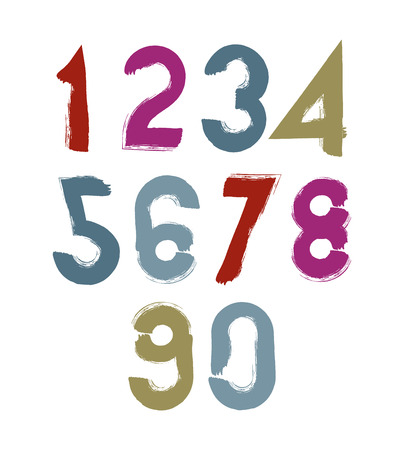 Multicolored handwritten numbers, vector doodle brushed figures, hand-painted set of numbers with brushstrokes. Vector