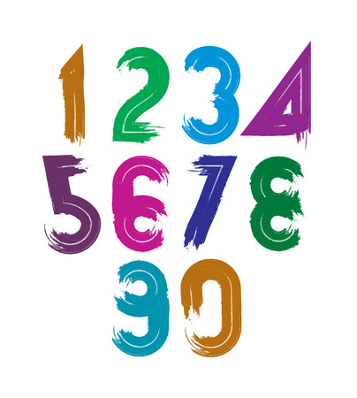 Handwritten vector numbers isolated on white background, painted modern numbers set. Vector