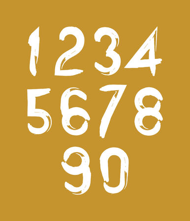numeration: Calligraphic brush numbers, hand-painted white vector numeration on yellow background.