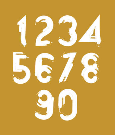 Handwritten white vector numbers isolated on yellow background, painted modern numbers set. Vector