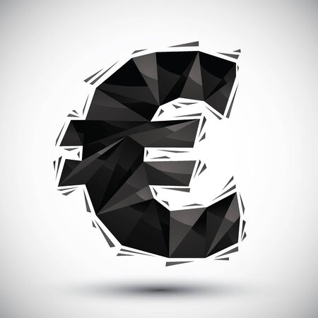reaches: Black euro sign geometric icon made in 3d modern style, best for use as symbol or design element. Illustration