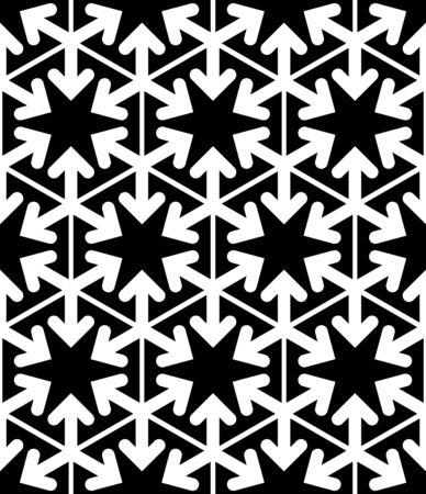охватывающей: Черно-белый абстрактный текстурированный геометрические бесшовные модели. Вектор контраст текстильной фон со звездами и стрелами. Графический современный стрелка покрытие. Иллюстрация
