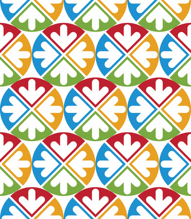 Decorative multicolored geometric seamless pattern with symmetric circles and arrows. Vector modern bright continuous texture, best for graphic and web design.