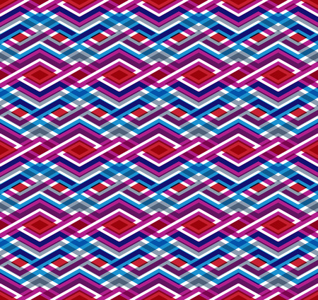 Geometric seamless pattern with transparent impose rhombs, endless ethnic vector background. Never-ending colorful decorative composition. Vector