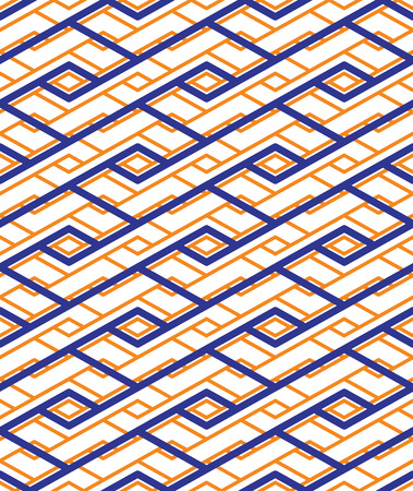 Colorful geometric seamless pattern with symmetric zigzag ornament. Rhombs and parallelograms graphic contemporary background. Bright splicing infinite backdrop.