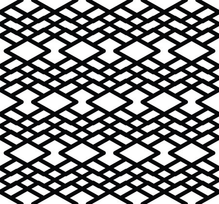 охватывающей: Монохромный симметричный узор бесшовные с параллельными линиями, черный и белый бесконечной геометрической мозаики текстильной, абстрактные векторные текстурированные веб-визуального покрытия. Иллюстрация