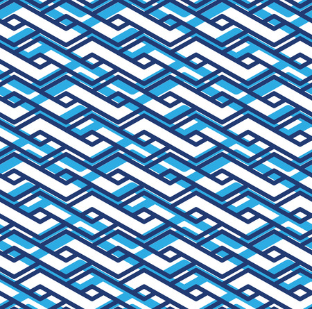 intertwine: Decorative geometric seamless pattern, symmetric endless vector background with intertwine blue lines. Abstract concept splicing covering.