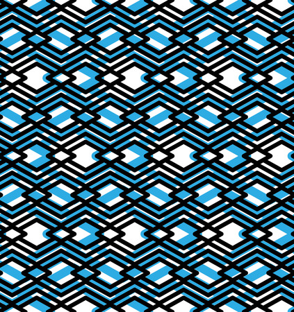intertwine: Blue abstract seamless pattern with interweave lines. Vector ornament wallpaper. Endless decorative background, visual effect geometric tracery with rhombs.